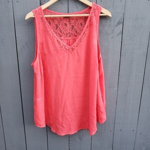 Torrid Coral Sheer Tank Lace Size 1
